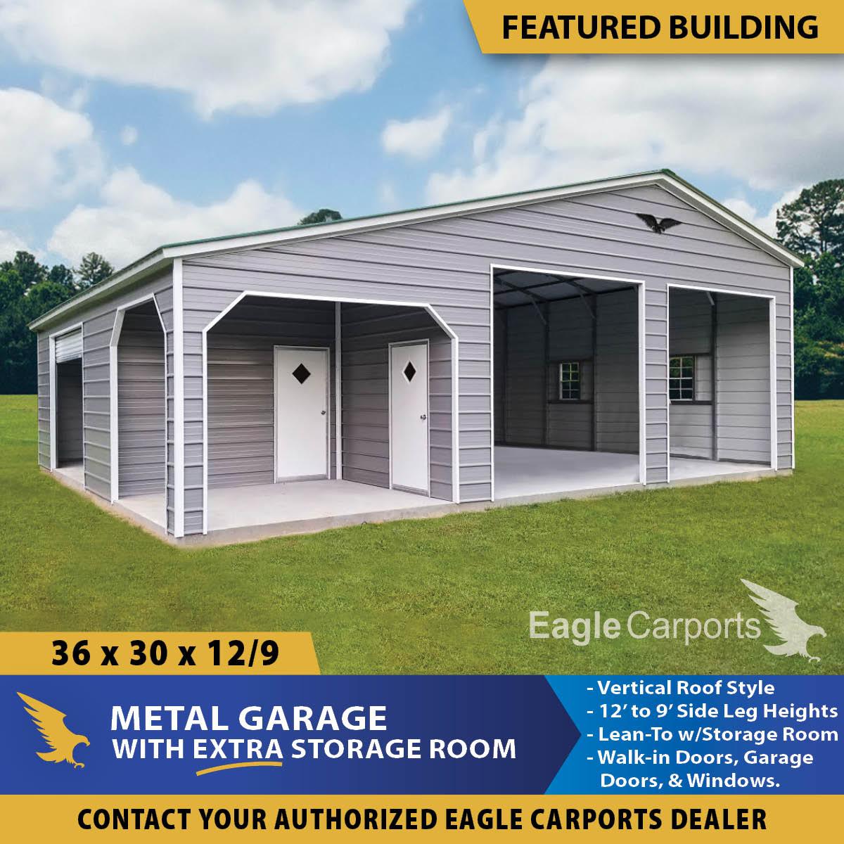 , 36x30x12/9Custom Garage with Lean-To & Storage Room
