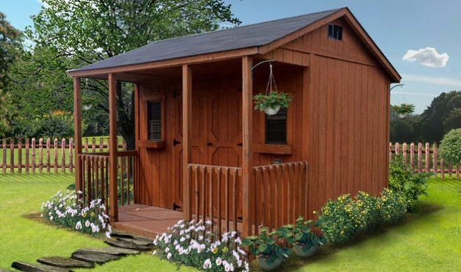 brown garden shed