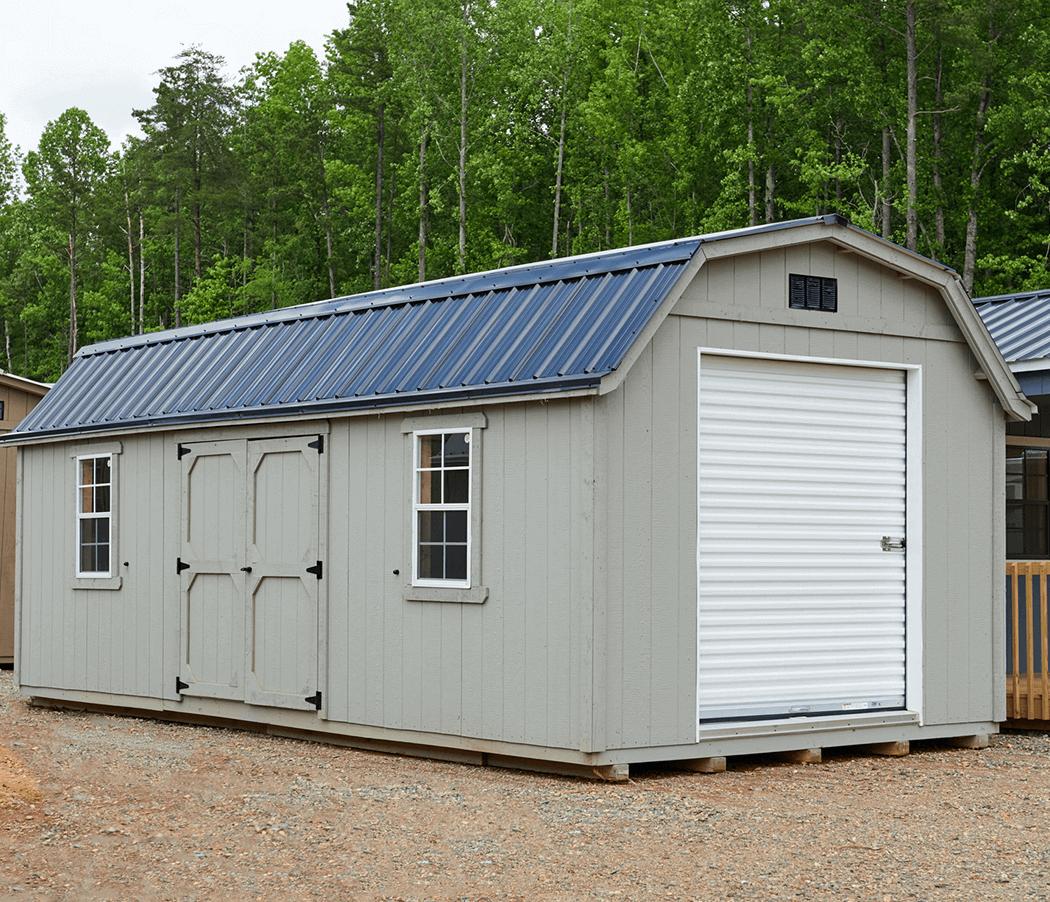 Amish storage building with roll up door