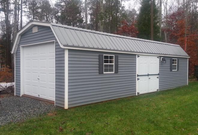 Amish Barn with Garage Door (Blue)